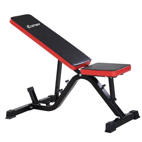 abs workout bench red costway adjustable sit up incline abs bench exercise