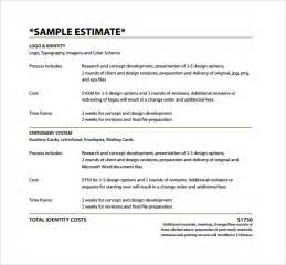 Cost Estimate Template Word by Estimate Template 9 Free Documents In Pdf Word