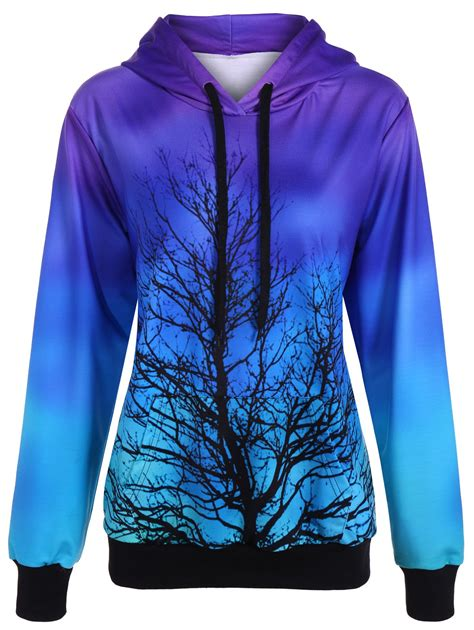 Hoodie Purple tree ombre color pullover hoodie in purple one size