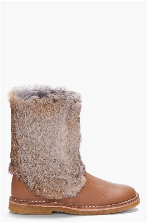 a p c brown rabbit fur trimmed crepe sole boots in brown