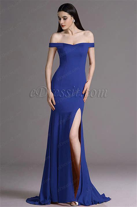 edressit royal blue  shoulder high slit formal dress