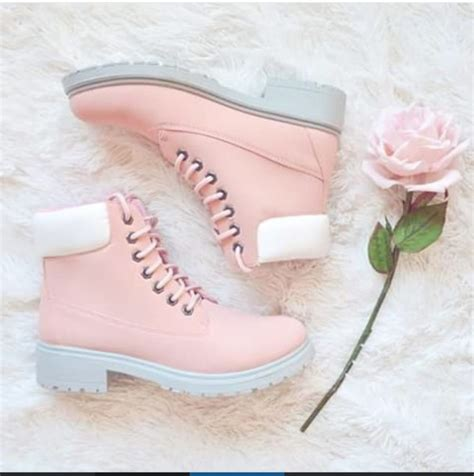 shoes pink boot boots white pastel