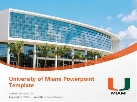 University Of Miami Powerpoint Template Download 迈阿密大学ppt模板下载 Of Miami Powerpoint Template