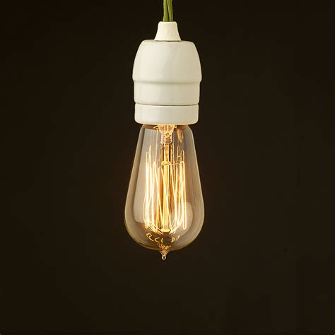 Led Pendant Light Fittings Edison Style Light Bulb E27 White Porcelain Fitting