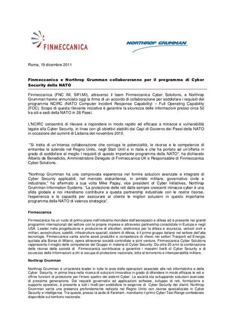 Northrop Grumman Security Officer Sle Resume Finmeccanica E Northrop Grumman Collaboreranno Per Il