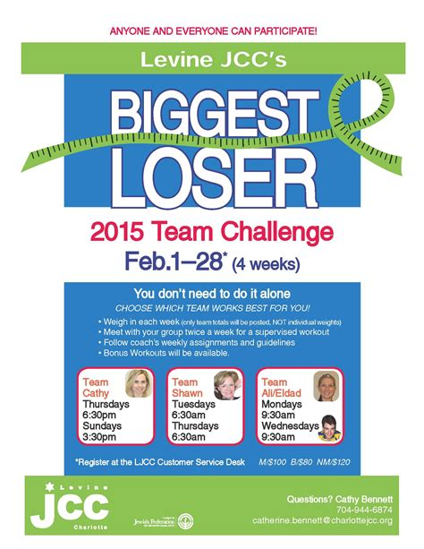 weight loss challenge flyer template levine community center nc the