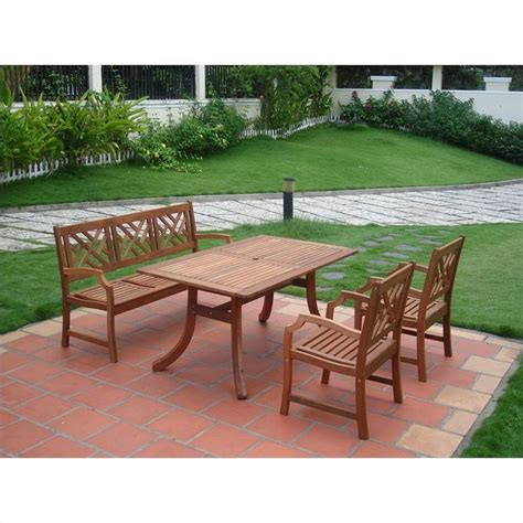Atlantic 4 Piece Wood Patio Dining Set V187set1 Wooden Patio Dining Set
