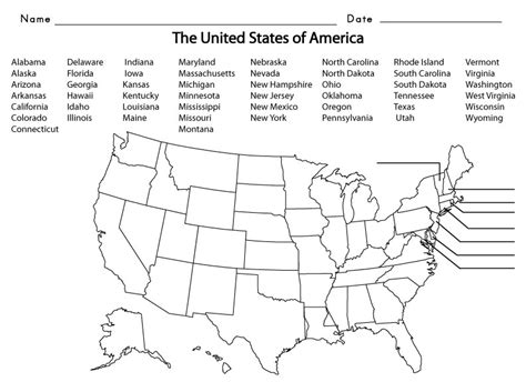 map of the united states handout usa states