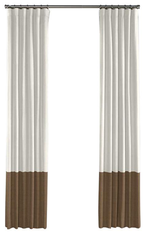 dark beige curtains ivory and dark beige linen color block curtain single