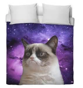 King White Comforter Space Cat Duvet Cover Grumpy Cat Edition Purple Duvet