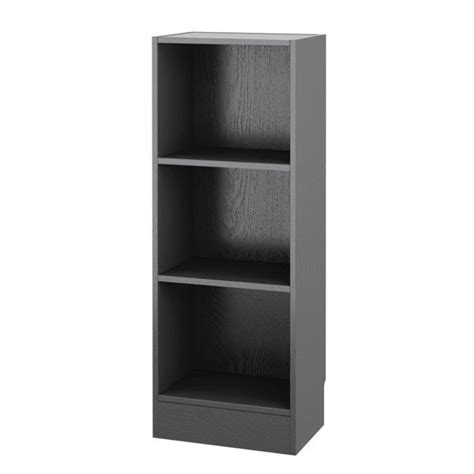 Short Narrow 3 Shelf Bookcase In Black Wood Grain 7177461 Narrow Bookcase Black