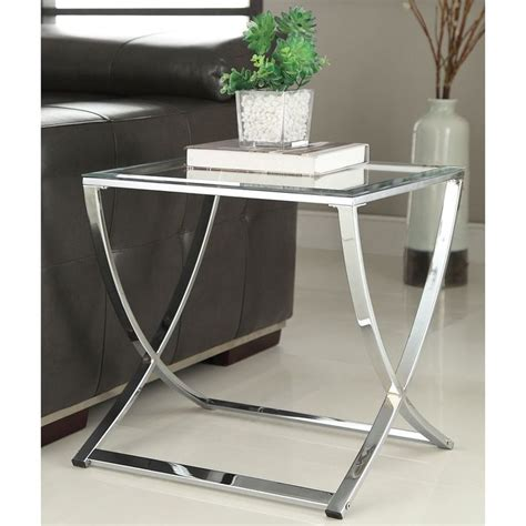 glass end table contemporary chrome finish glass side end table