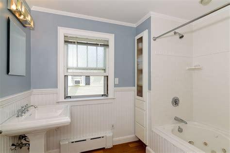 bathroom molding ideas cottage bathroom with wainscoting hardwood floors