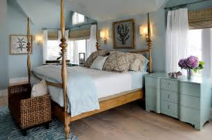 pale blue painted beach themed coastal master bedroom with