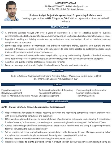 business analyst cv format business analyst resume sle and template