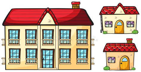 wohnung clipart a big apartment and two small houses stock vector