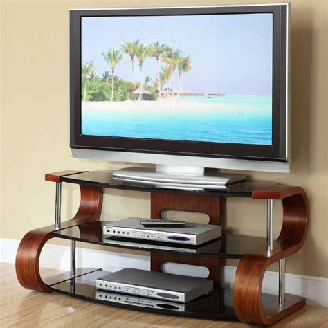 Jual Tv Lcd by Wooden Modern Tv Stand 3 Tier Black Glass
