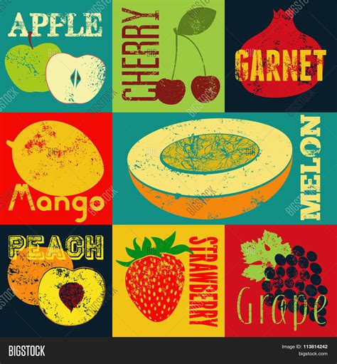 pop grunge style fruit poster collection of retro