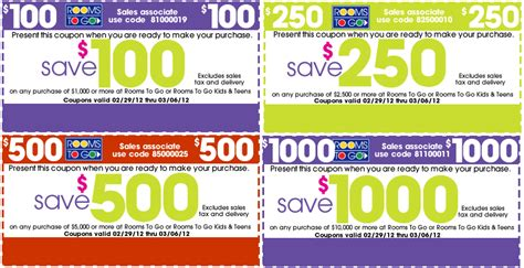 rooms to go promo code rooms to go 100 1000 printable coupon