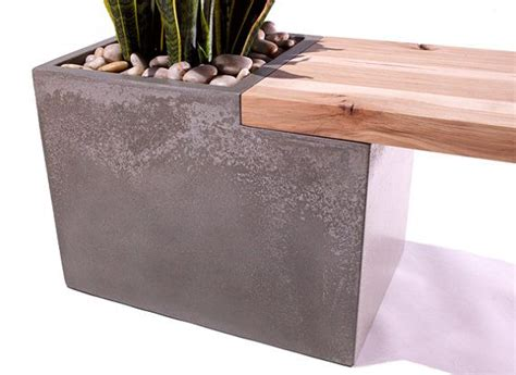concrete and wood bench concrete wood planter bench