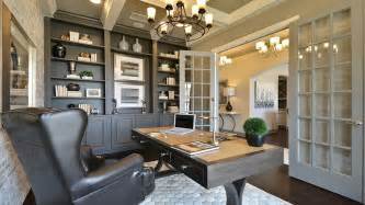 Cabinets study with built in bookshelves and cabinets in umber gray