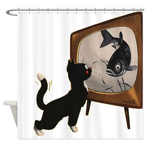 Black Cat Shower Curtain by Black Cat And Fish Shower Curtain By Vintagevivian
