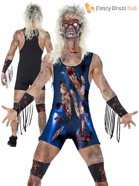 mens zombie wrestler costume gory horror wwf halloween