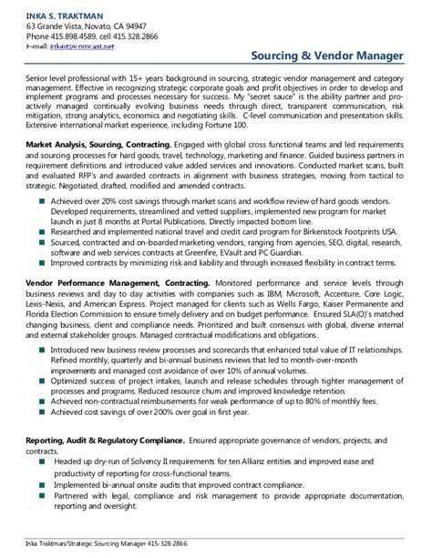 Sourcing Executive Sle Resume by Inka Traktman Sourcing Vendor Management Resume