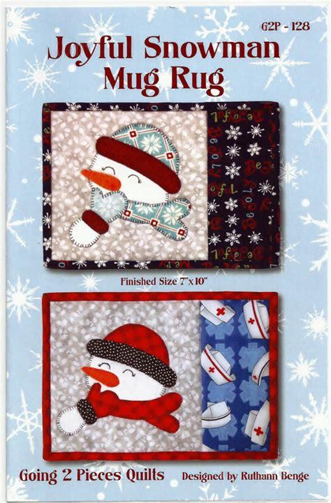 snowman mug rug joyful snowman mug rug pattern