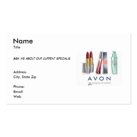 avon templates business cards avon business card zazzle