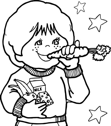 Children Eating Carrot Healthy Coloring Page Wecoloringpage Healthy Colouring Pages