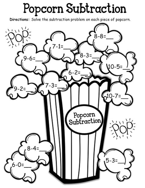 popcorn coloring pages preschool popcorn subtraction kinderland collaborative