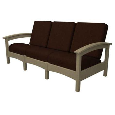 trex outdoor furniture rockport sand castle patio sofa