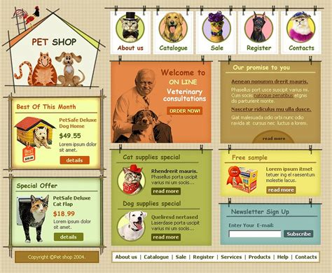 pet templates pet shop website template 6023