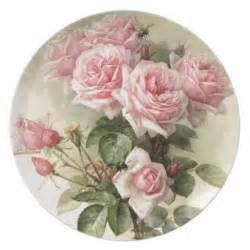 shabby chic pink victorian roses dinner plate zazzle