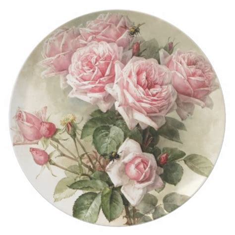 Shabby Chic Pink Victorian Roses Dinner Plate Zazzle Shabby Chic Dinner Plates