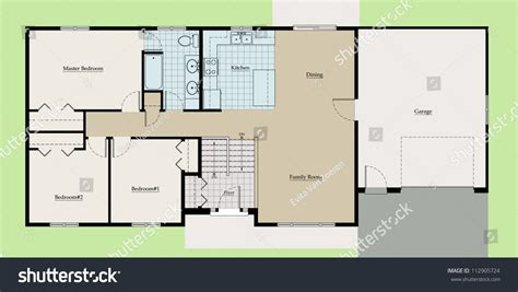 house plan names split level house floor plan colored stock illustration