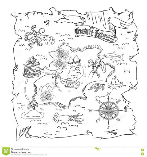coloring pages treasure island treasure island map kids coloring page stock illustration