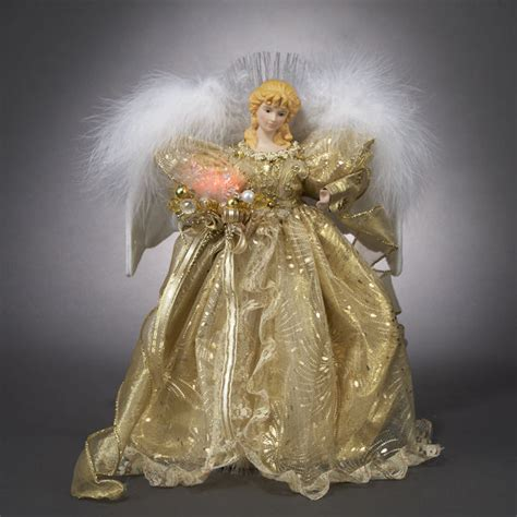 kurt adler angel tree topper kurt s adler fiber optic gold tree topper centerpiece ebay