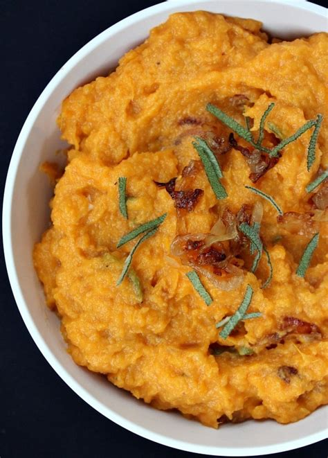 mashed sweet potatoes with caramelized onions brie and sage passion for cooking
