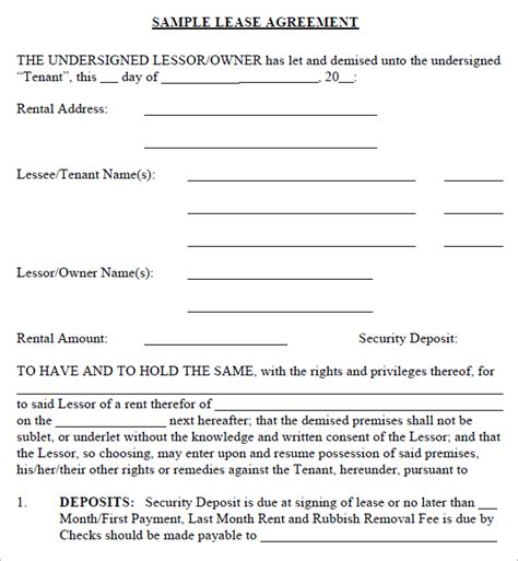 basement rental agreement form 5 free lease agreement templates excel pdf formats