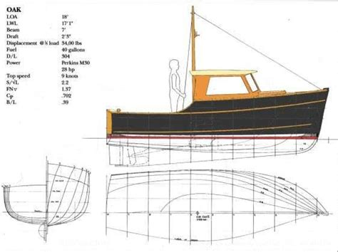 displacement fishing boat plans oak 18 inshore fisherman planing semi displacement