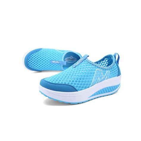 fashion mesh sneakers sky blue heavy bottomed slip on mesh sport shoes sky blue