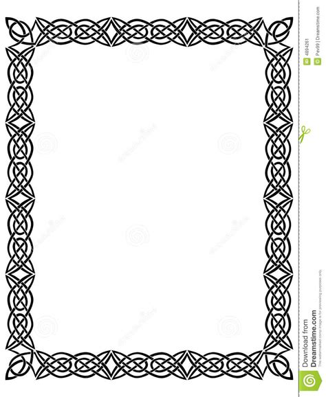 Simple Listy Black And White schwarzer rand mit keltischer verzierung stock abbildung