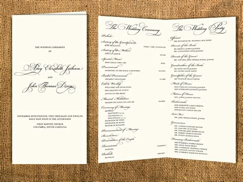 traditional wedding program templates traditional wedding program by janinemikell on etsy