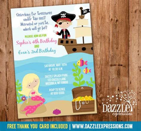 pirate thank you card template printable mermaid and pirate birthday invitation