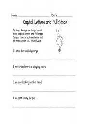 capital letter and full stop worksheets fioradesignstudio
