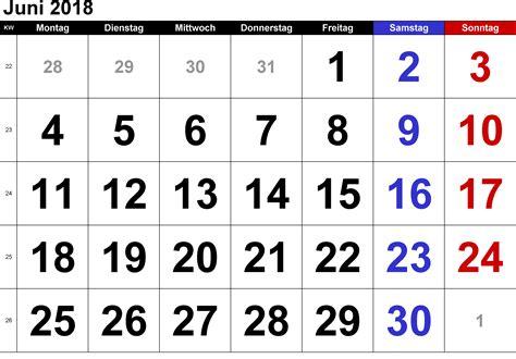 Kalender 2018 Juni Feiertage Kalender Juni 2018 Zum Ausdrucken Pdf Excel Word
