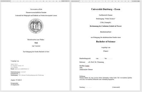 Word Vorlage Deckblatt Bachelorarbeit Das Perfekte Deckblatt Deiner Bachelorarbeit 5 Uni Vorlagen