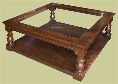 period style large square oak coffee table with glass top